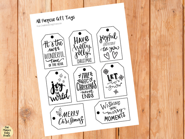 Printable all purpose Christmas holiday gift tags