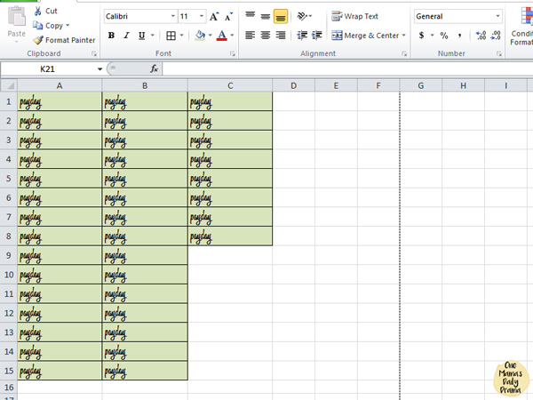 Planner tip: make your own stickers in a spreadsheet.