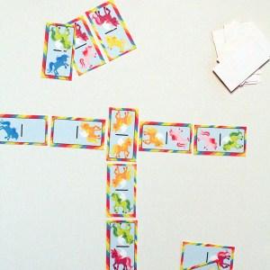 Printable rainbow unicorn dominoes