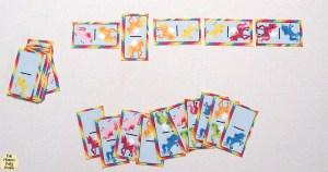 Printable rainbow unicorn dominoes game