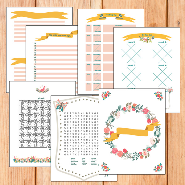Spring activity book with puzzles and journal pages