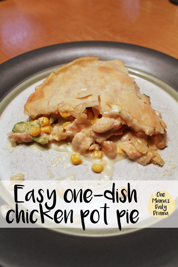 Easy one-dish chicken pot pie supper recipe for weeknight family meals