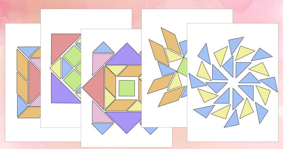 Printable tangrams mandala puzzle pages