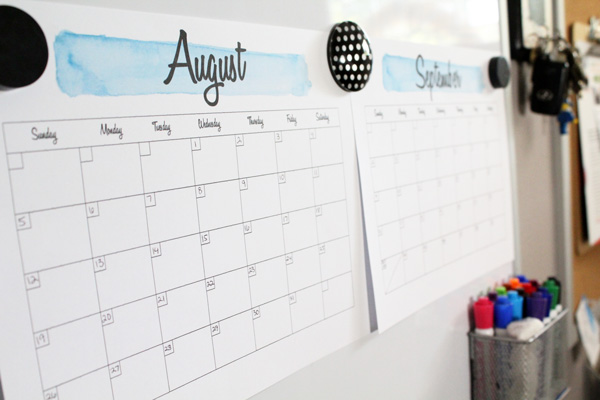 paper calendars in the family command center