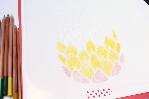 pineapple stencil yellow rows
