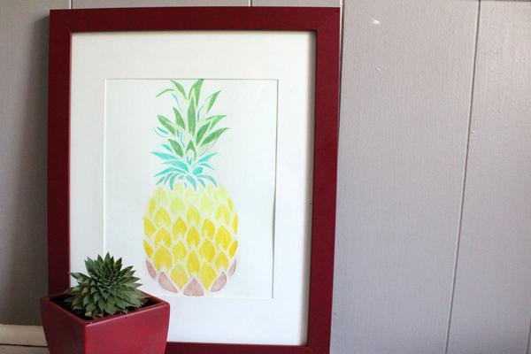 pineapple stencil home decor idea