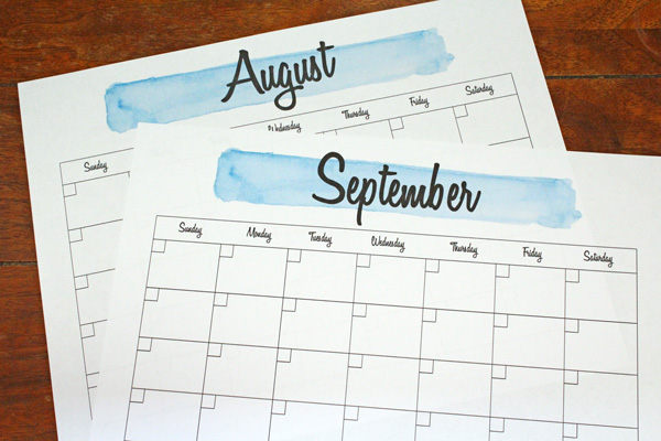 printable monthly calendar pages