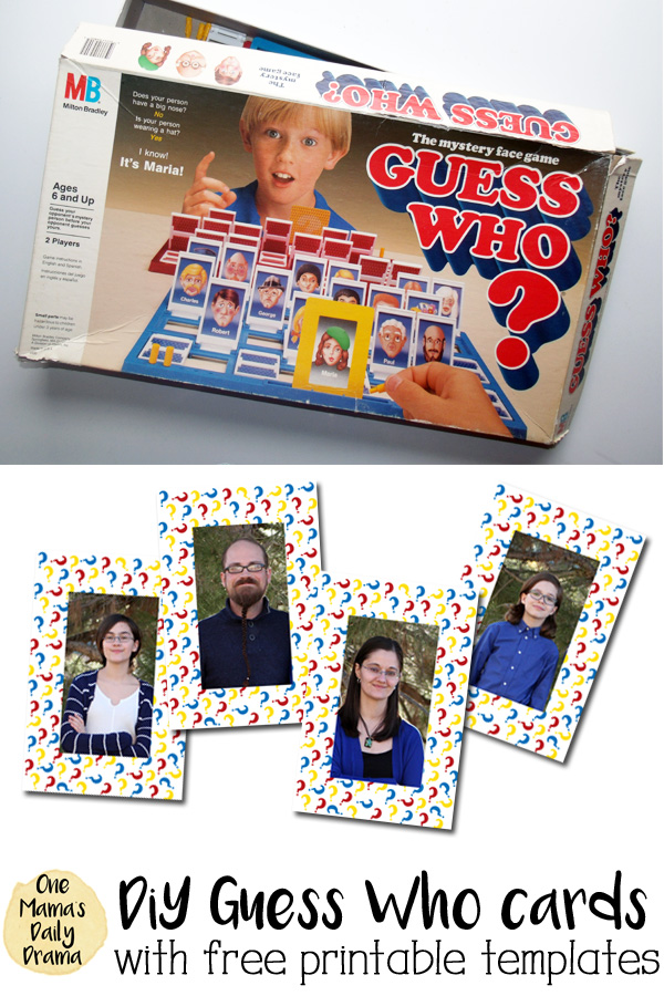 DiY Guess Who printable board game cards