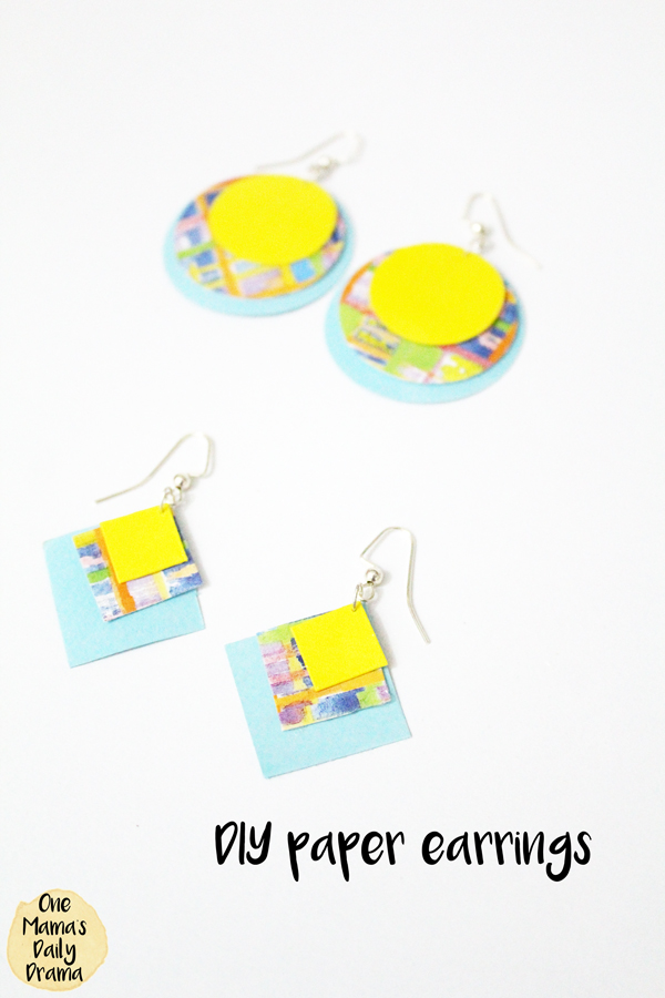These funky DIY paper earrings are simple to make yourself and look fabulous. They are made from scrapbook paper, so you can use any color or pattern you like.