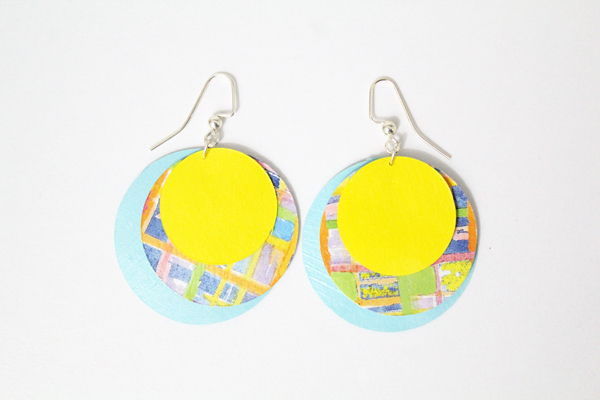 These funky DIY paper earrings are simple to make yourself and look fabulous. They are made from scrapbook paper, so you can use any color or pattern in your stash.