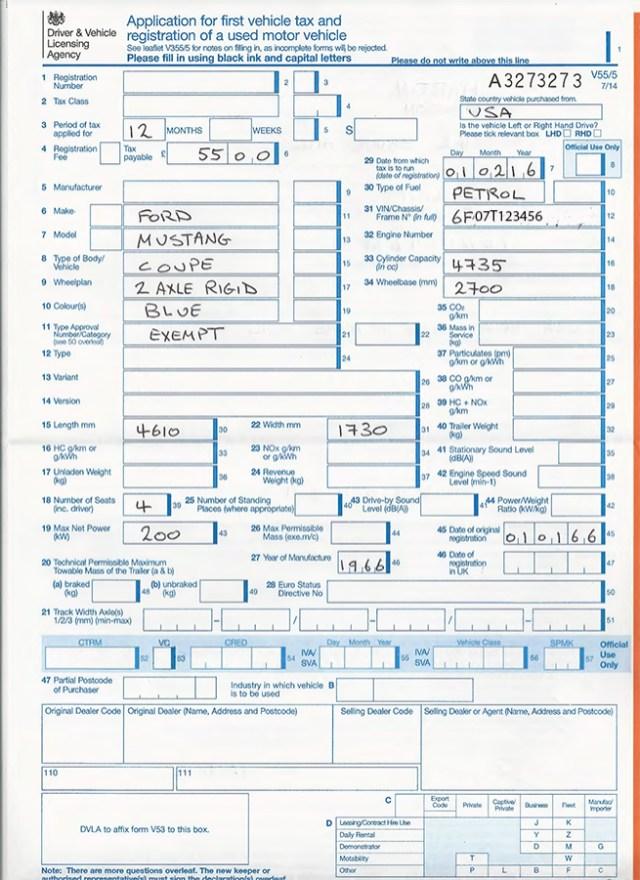 Unladen Weight Of Car : unladen, weight, Importing, (DVLA, Registration), Mustang