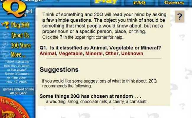 Play 20 Questions Online