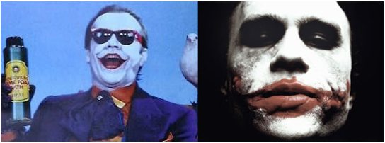 Side-by-side comparison of the Joker costume designs