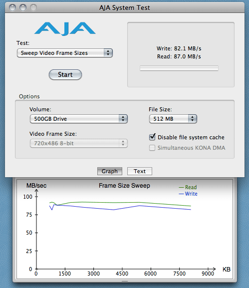500GB Drive - Sweep Video Frame Sizes