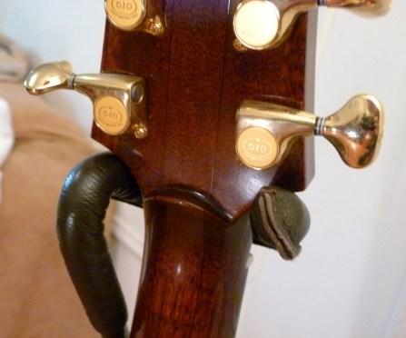 Kathy Wingert Model F Custom - mahogany neck detail - guitar review at onemanz.com