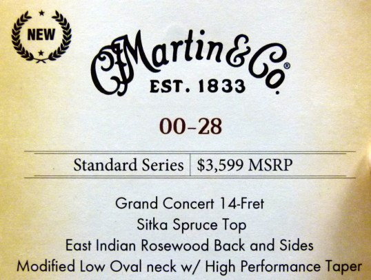 Martin 00-28 NAMM label