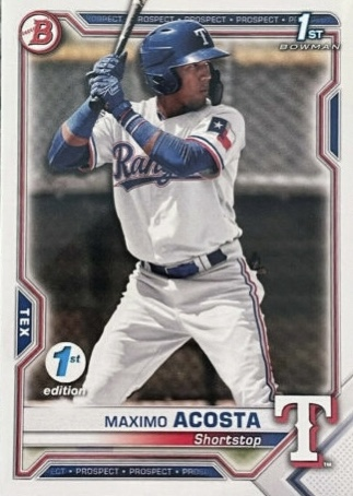 2021 Bowman Baseball Card Maximo Acosta