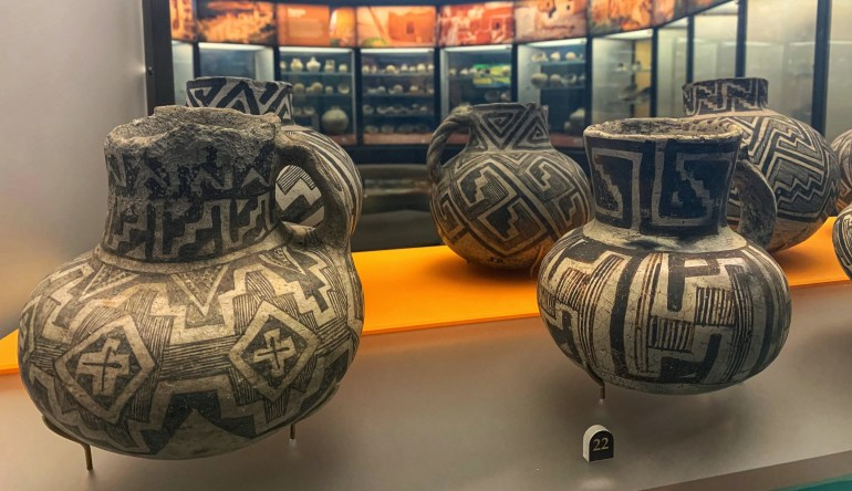 Pottery on display at the Field Museum