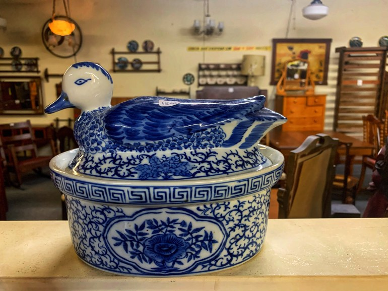 Blue and White Duck Dish:  An Afternoon of Antiques in Snohomish, Washington