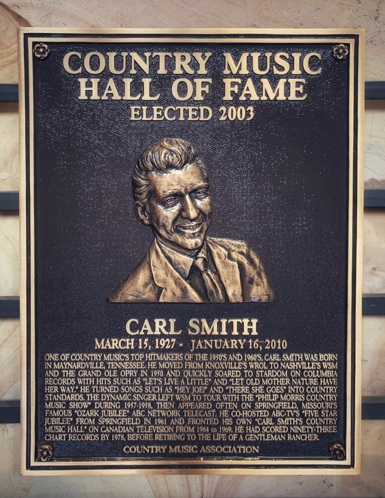 Carl Smith at the Country Music Hall of Fame in Nashville, Tennessee