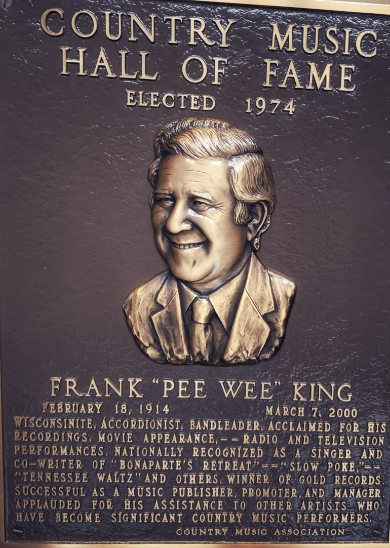 """Frank """"Pee Wee"""" King at the Country Music Hall of Fame in Nashville, Tennessee"""