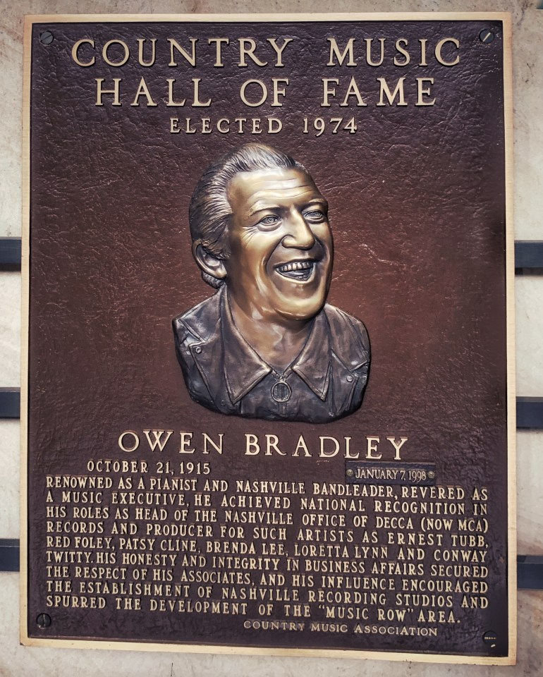 Owen Bradley at the Country Music Hall of Fame in Nashville, Tennessee