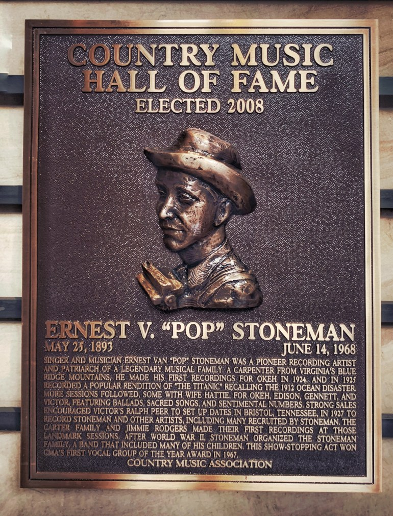 """Ernest V """"Pop"""" Stoneman at the Country Music Hall of Fame in Nashville, Tennessee"""