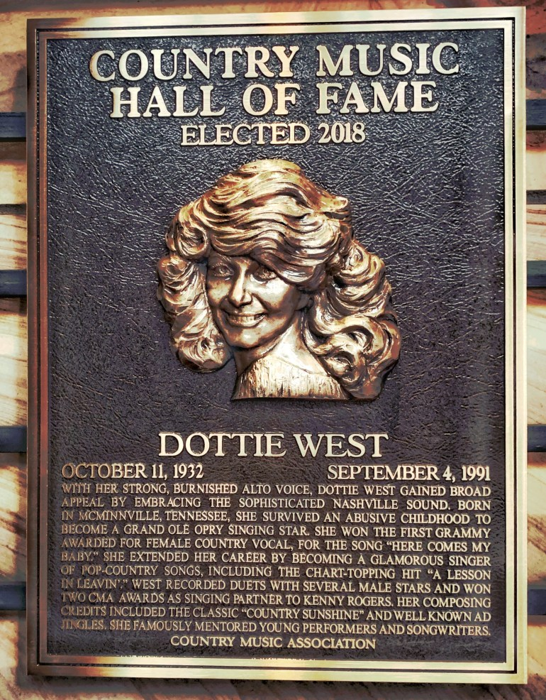 Dottie West at the Country Music Hall of Fame in Nashville, Tennessee