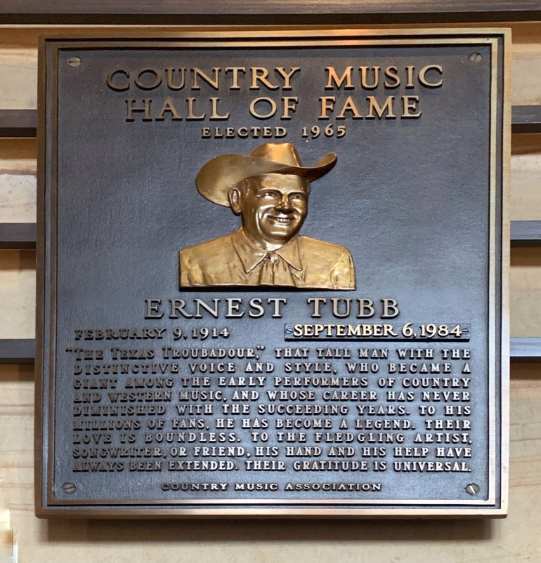 Ernest Tubb at the Country Music Hall of Fame and Museum in Nashville, Tennessee
