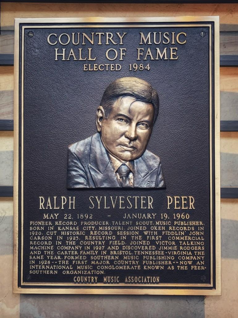 Ralph Sylvester Peer at the Country Music Hall of Fame in Nashville, Tennesse