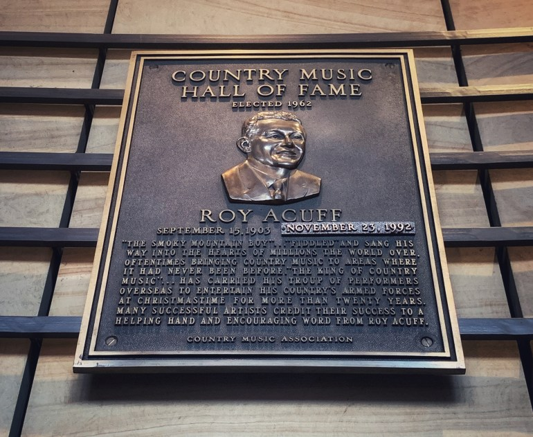 Roy Acuff at the Country Music Hall of Fame in Nashville, Tennessee