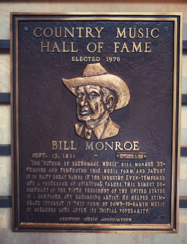 Bill Monroe at the Country Music Hall of Fame in Nashville, Tennessee