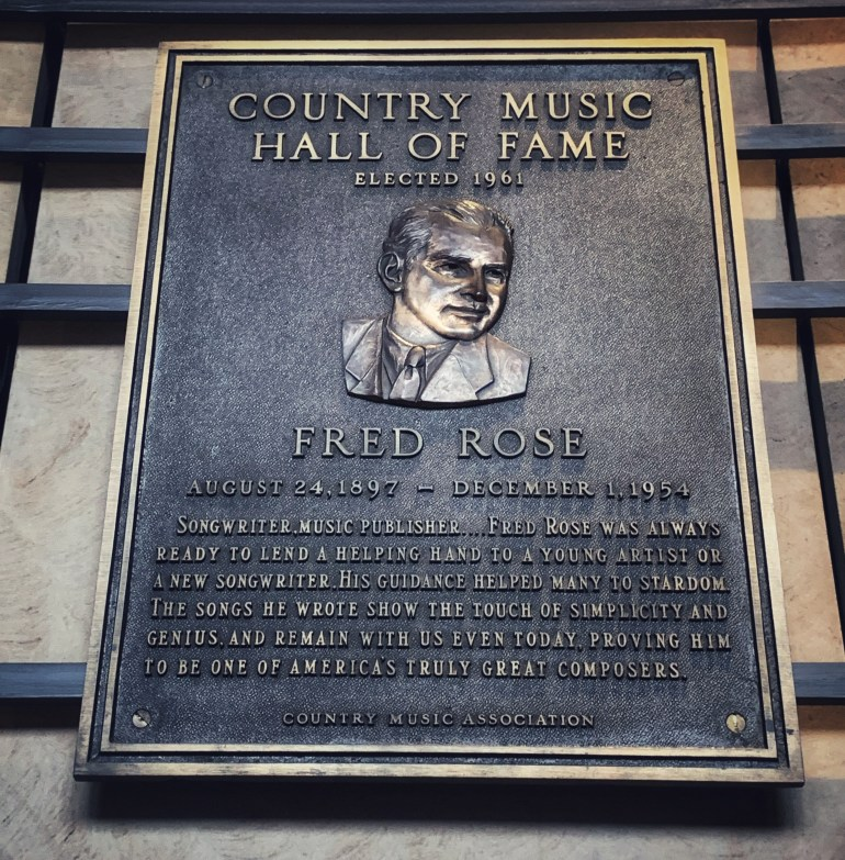 Fred Rose at the Country Music Hall of Fame in Nashville, Tennessee