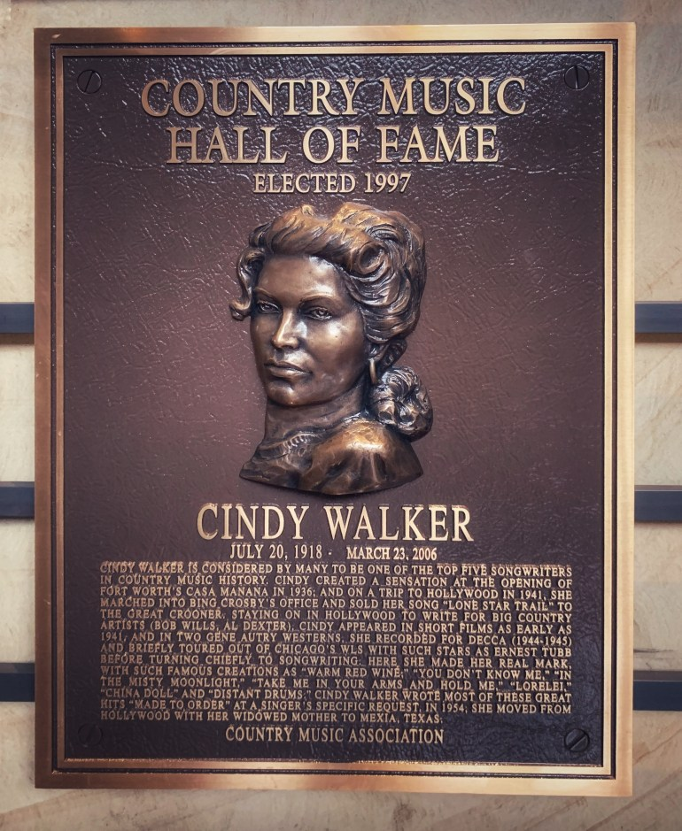 Cindy Walker at the Country Music Hall of Fame in Nashville, Tennessee