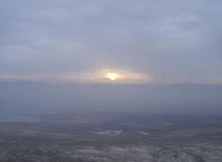 Sunrise from Mount Masada in Israel, Spring 2006