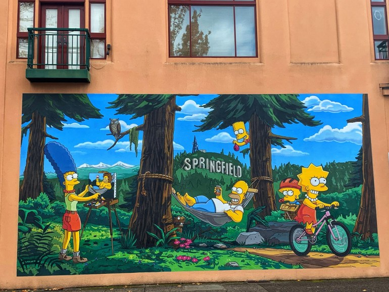 Simpson's Mural in Downtown Springfield, Oregon