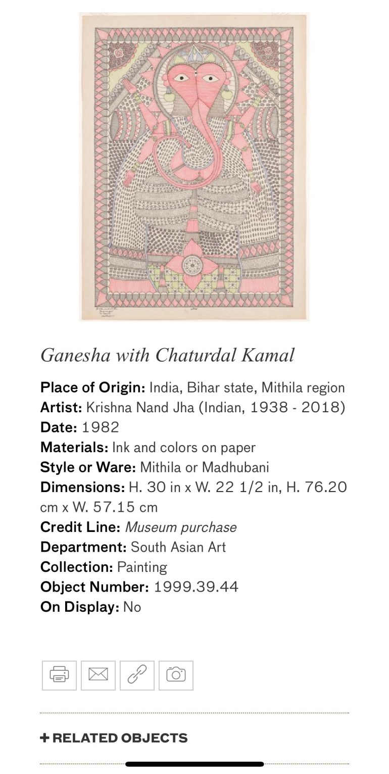 Ganesha with Chaturdal Kamal: Touring Art Museums During Covid: A Virtual Tour of Painting is My Everything: Art from India's Mithila Region at the Asian Museum of Art in San Francisco