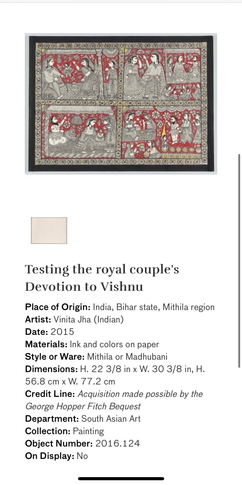 Testing the Royal Couple's Devotion to Vishnu: Touring Art Museums During Covid: A Virtual Tour of Painting is My Everything: Art from India's Mithila Region at the Asian Museum of Art in San Francisco