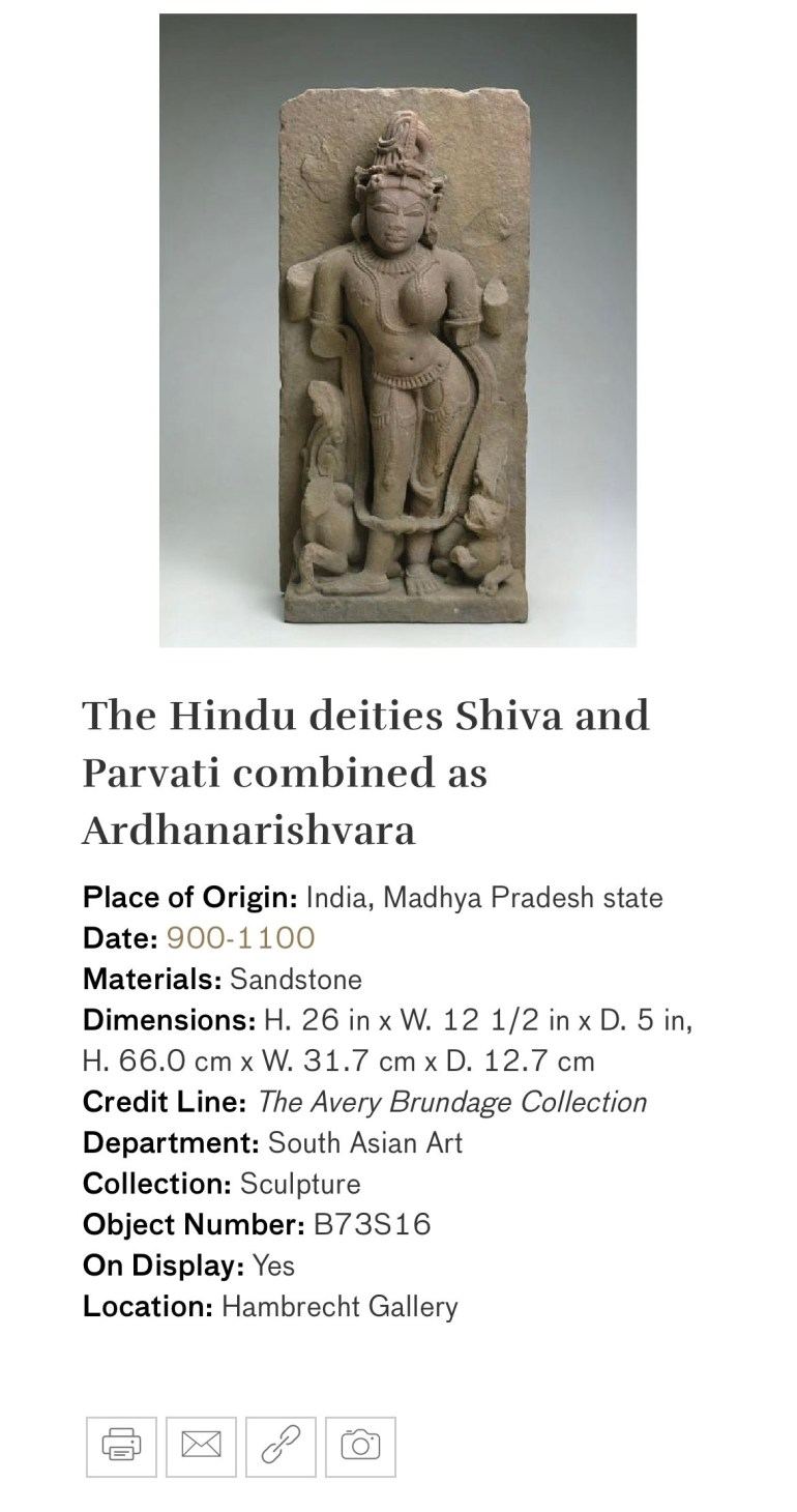 The Hindu Deities Shiva and Parvati Combined as Ardhanarishvara: Touring Art Museums During Covid: Divine Bodies at the Asian Museum of Art in San Francisco
