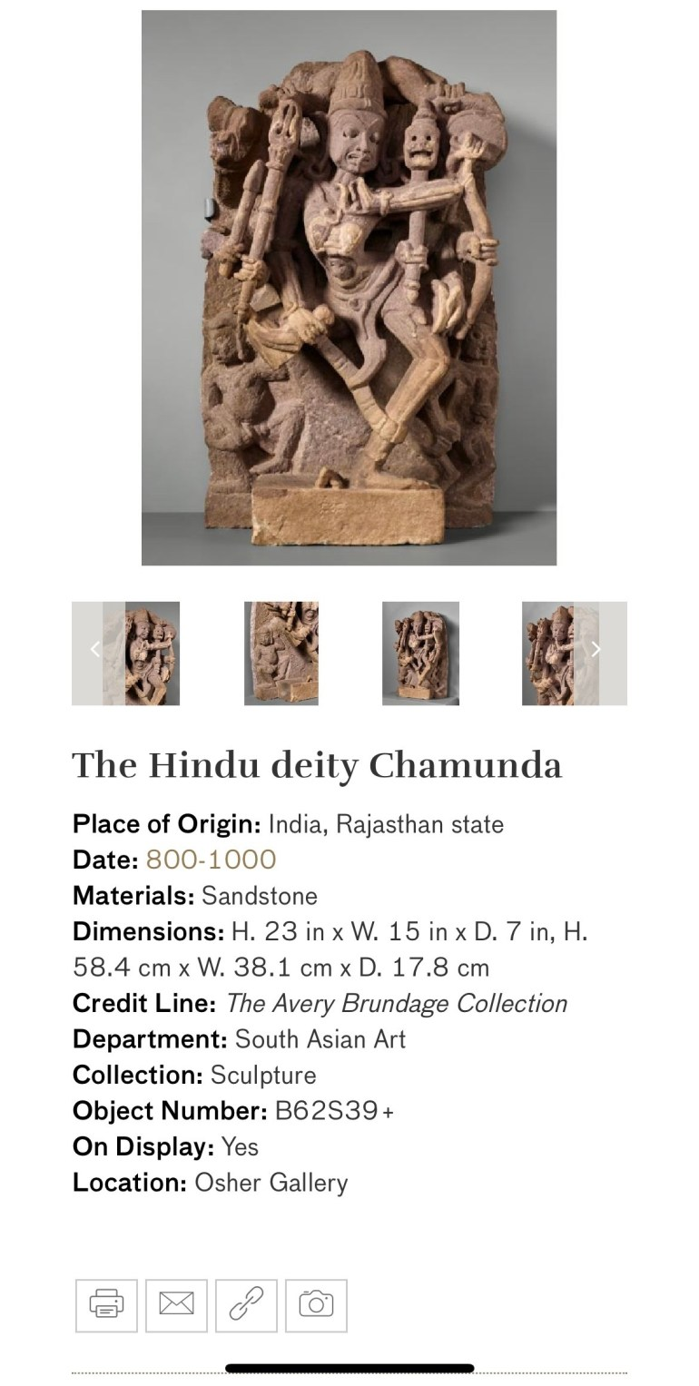 The Hindu Deity Chamunda: Touring Art Museums During Covid: Divine Bodies at the Asian Museum of Art in San Francisco