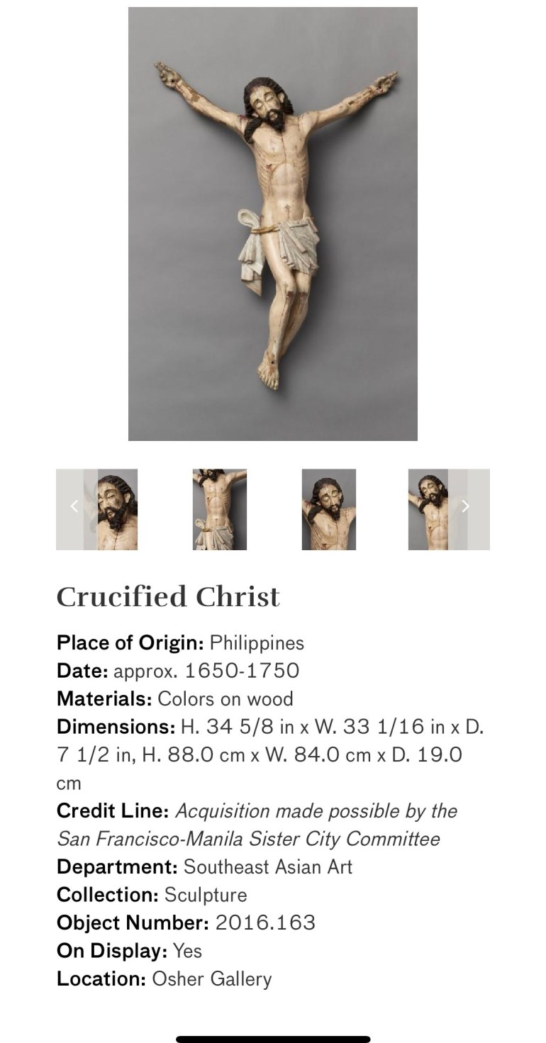 Crucified Christ: Touring Art Museums During Covid: Divine Bodies at the Asian Museum of Art in San Francisco