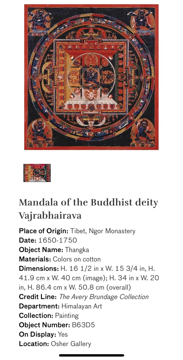 Mandala of the Buddhist Deity Vajrabhairava: Touring Art Museums During Covid: Divine Bodies at the Asian Museum of Art in San Francisco