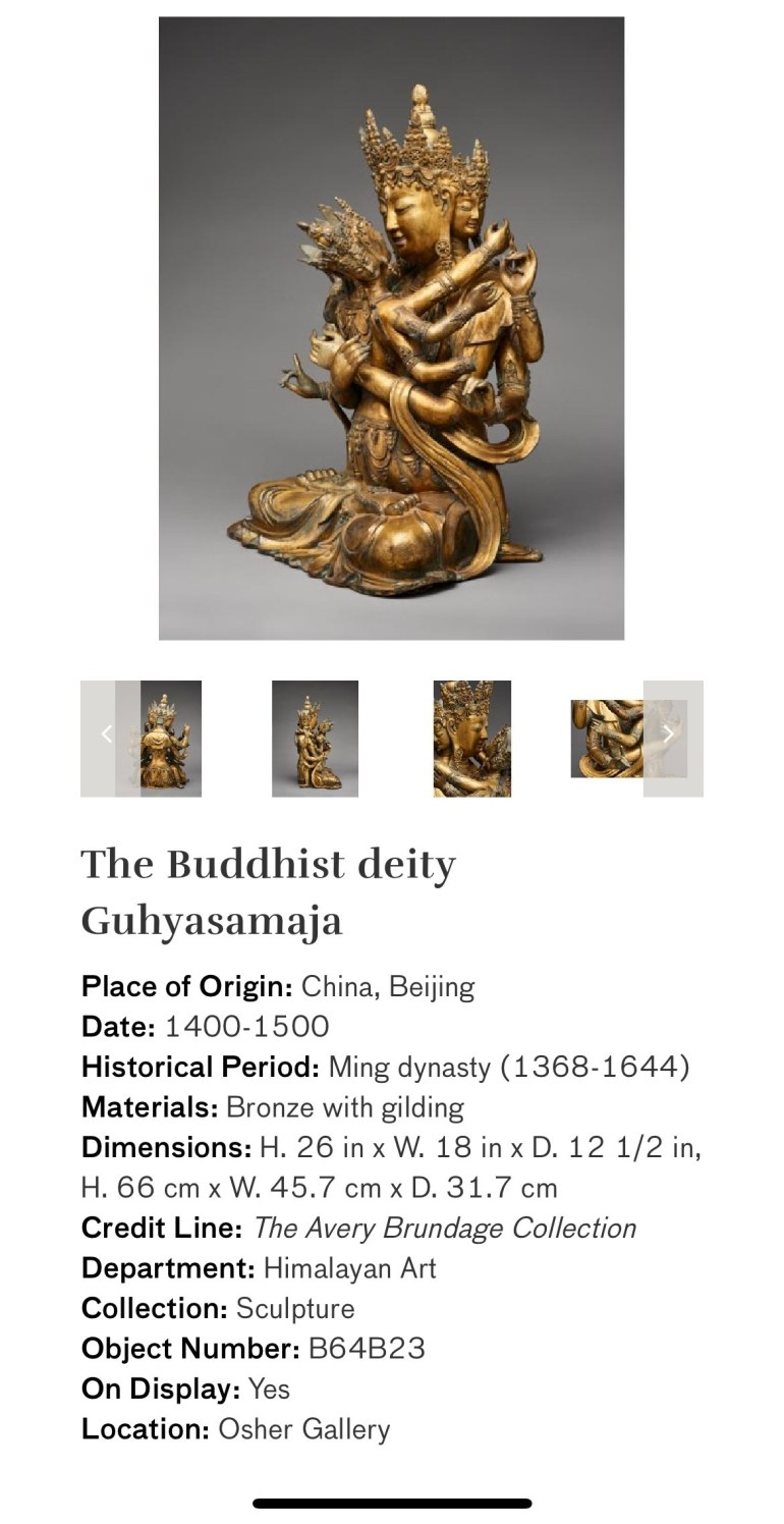 The Buddhist Deity Guhyasamaja: Touring Art Museums During Covid: Divine Bodies at the Asian Museum of Art in San Francisco