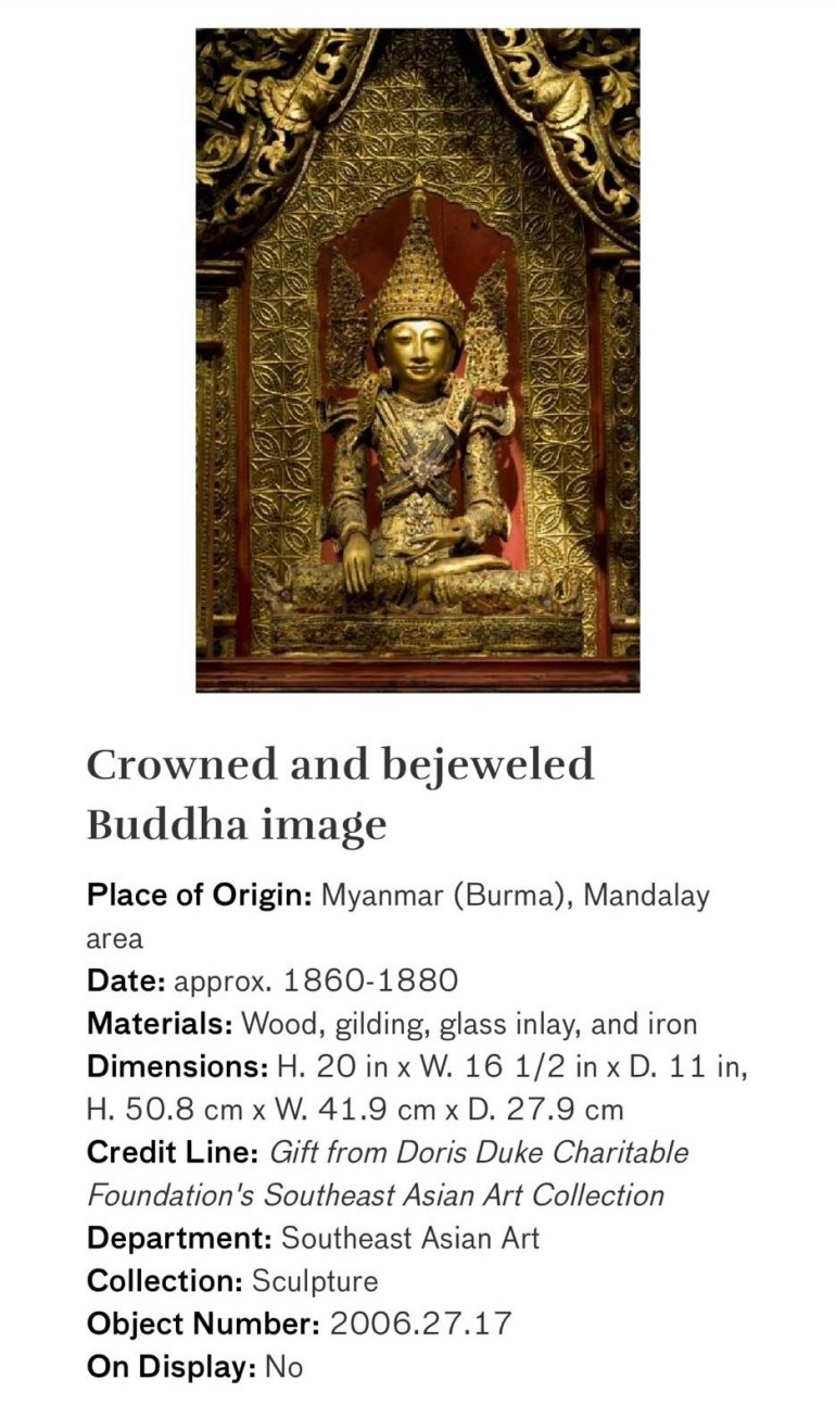 Crowned and Bejeweled Buddha Image: Touring Art Museums During Covid: Asian Art Museum Masterpieces at the Asian Museum of Art in San Francisco