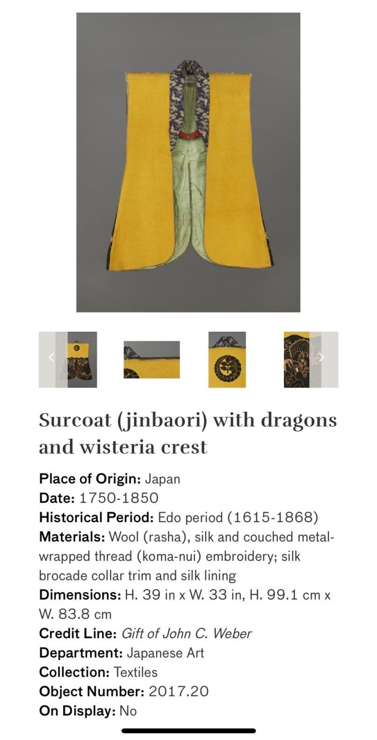 Surcoat (Jinbaori) with Dragons and Wisteria Crest: Touring Art Museums During Covid: Asian Art Museum Masterpieces at the Asian Museum of Art in San Francisco
