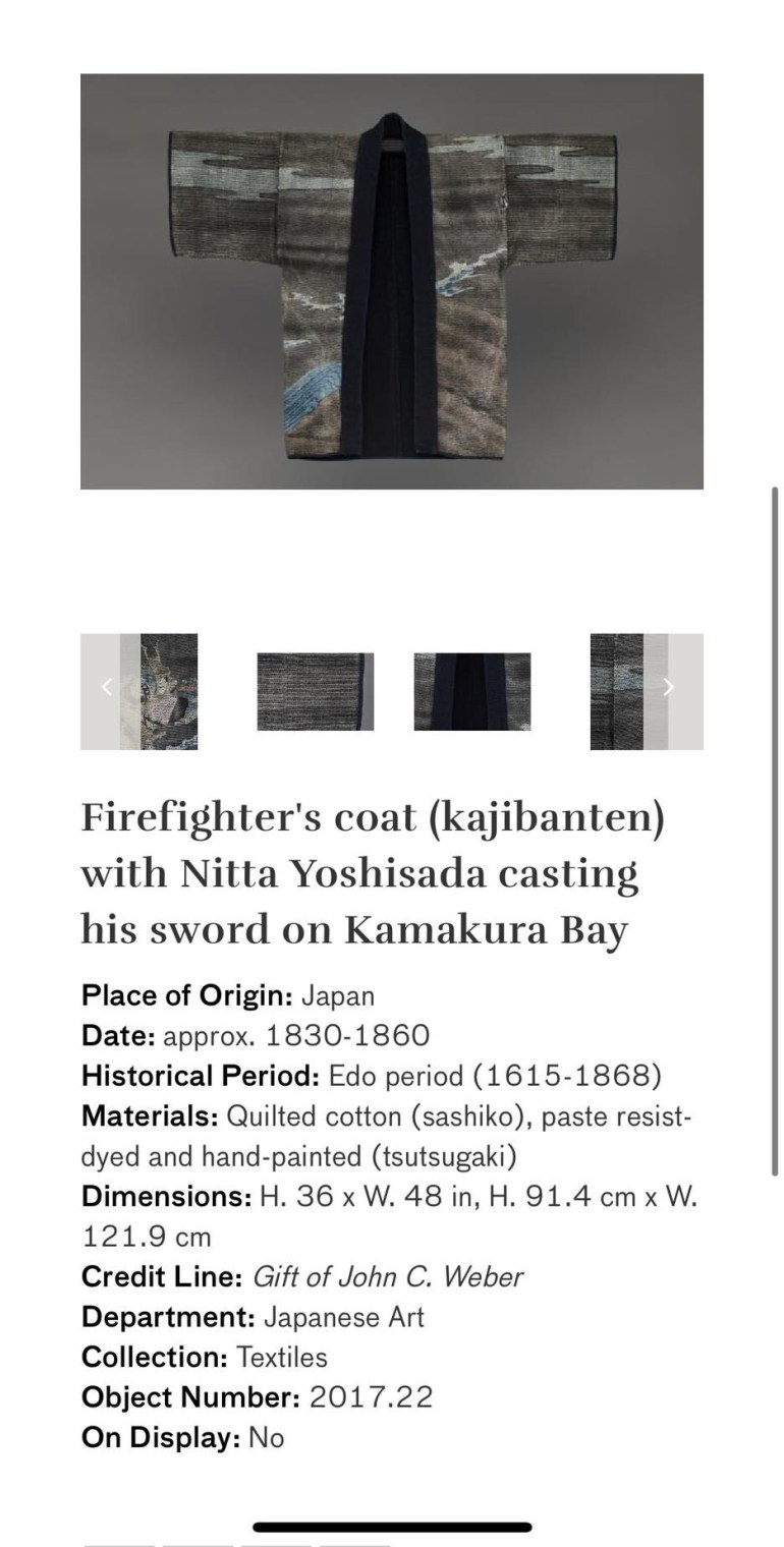 Firefighter's Coat (Kajibanten) with Nitta Yoshisada Casting His Sword on Kamakura Bay: Touring Art Museums During Covid: Asian Art Museum Masterpieces at the Asian Museum of Art in San Francisco