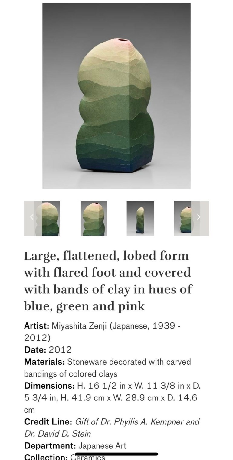 Large, Flattened, Lobed Form with Flared Foot and Covered with Bands of Clay in Hues of Blue, Green, and Pink: Touring Art Museums During Covid: Asian Art Museum Masterpieces at the Asian Museum of Art in San Francisco