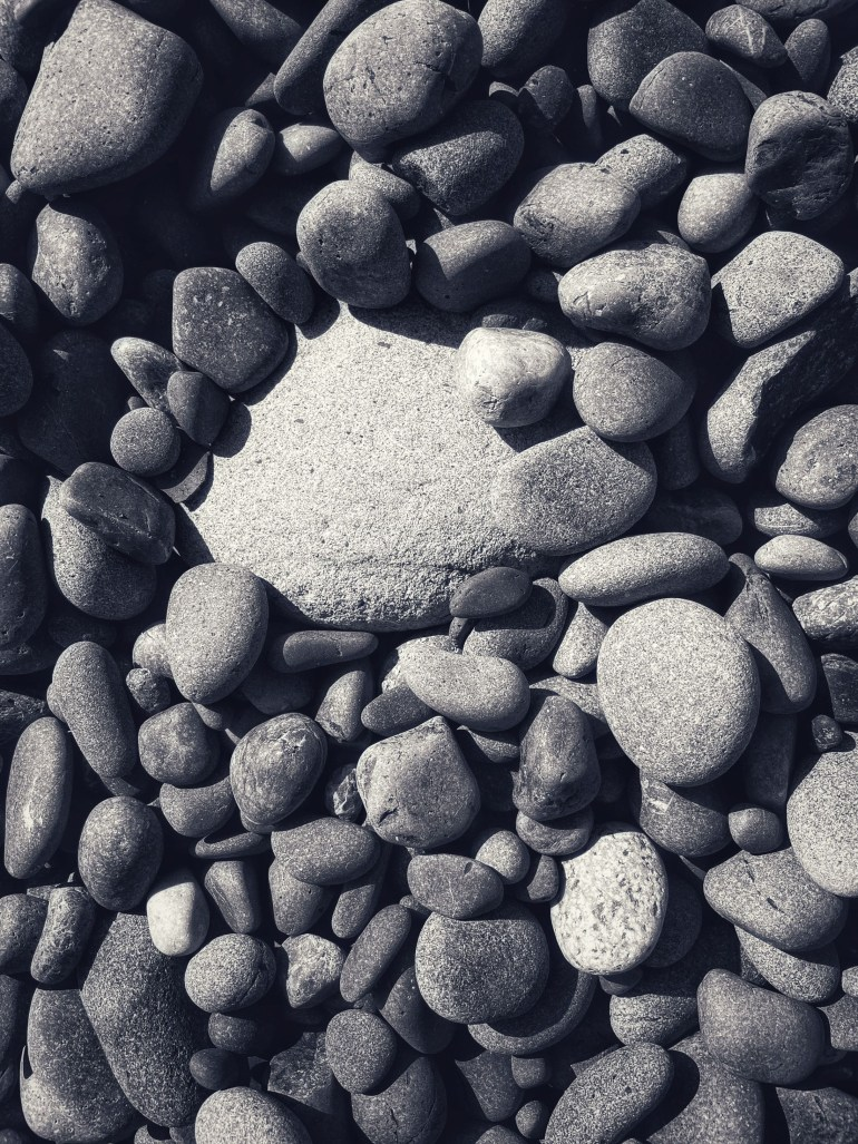 Black and White: Beach Rocks: An Afternoon at Rialto Beach on the Washington Peninsula