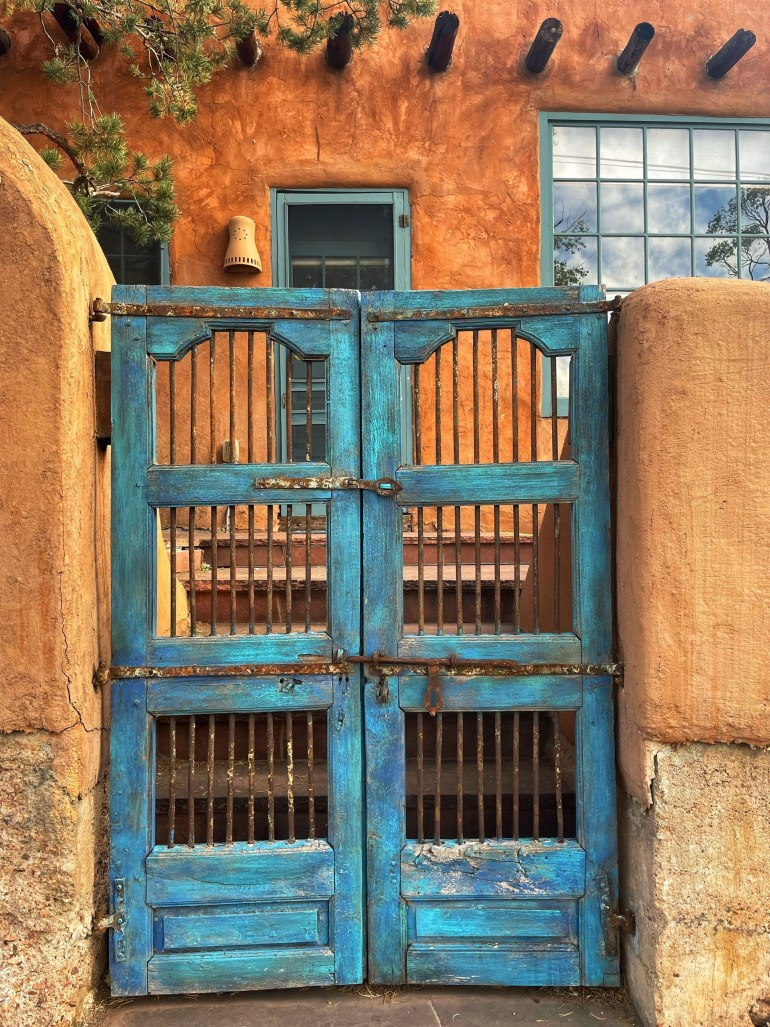 Weathered Blue Door in Santa Fe, New Mexico