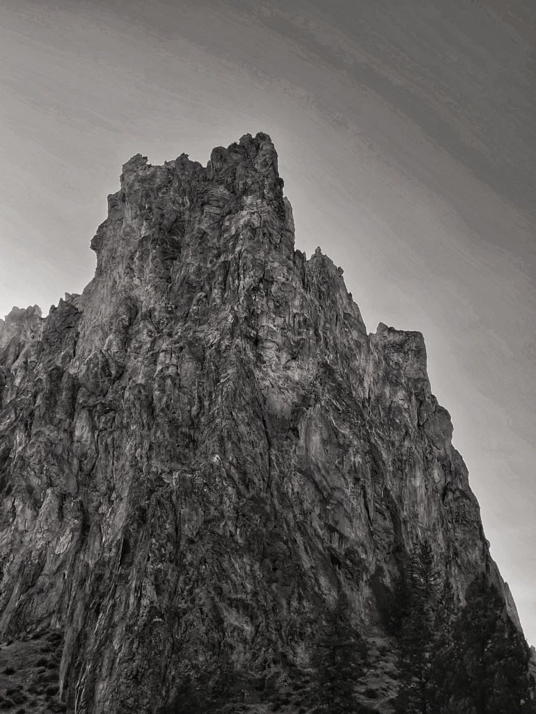 Black and White: At Smith Rock State Park Near Bend, Oregon